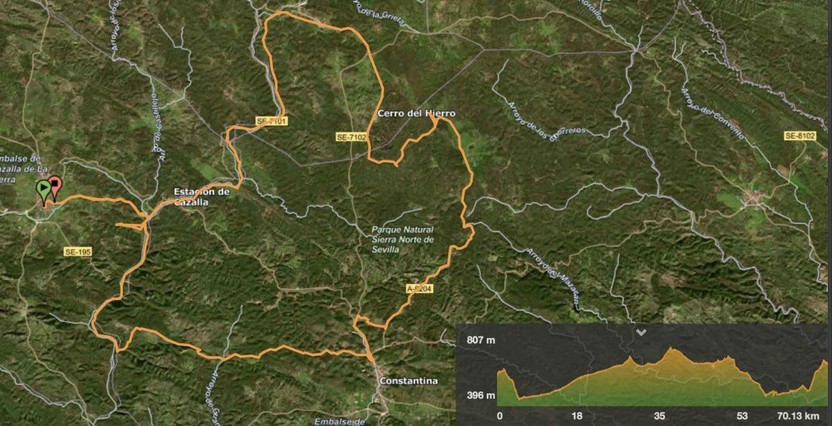 Distancia 70,13 kilómetros / Desnivel acumulado 1.150 mts. / 5 horas