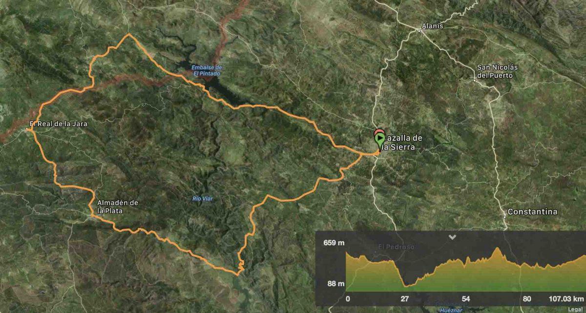 Distancia 107 kilómetros / Desnivel acumulado 1.661 mts. / 9 horas