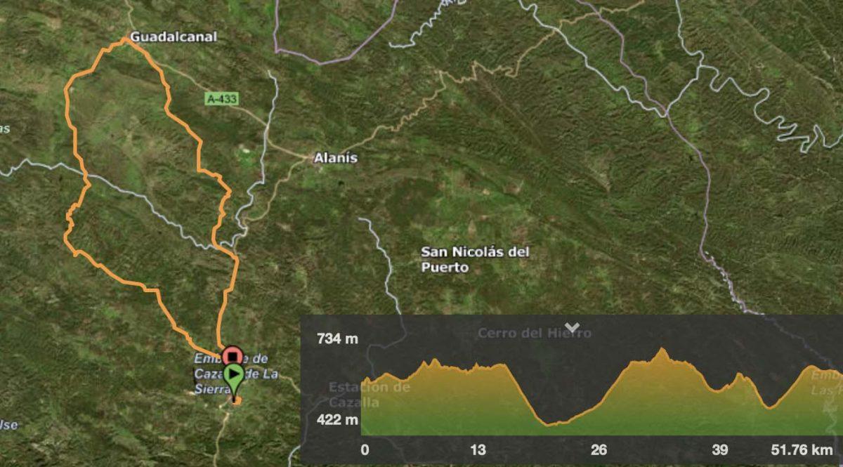 Distancia 51,76 kilómetros / Desnivel acumulado 827 mts. / 3 horas 30 minutos